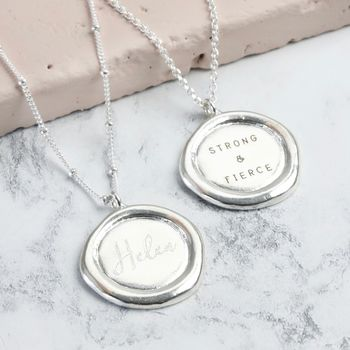 Personalised Sterling Silver Wax Seal Necklace