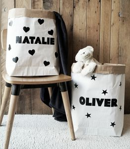 Personalised Name Paper Storage Bag - storage