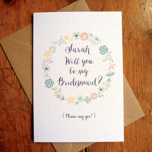 Be My Bridesmaid Flower Circle Card - wedding cards