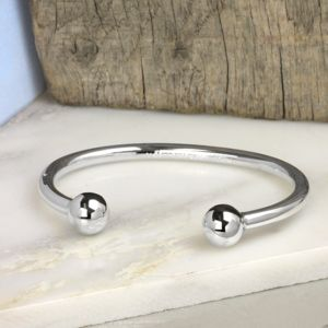 Men's Silver Ball Torque Bangle - bracelets