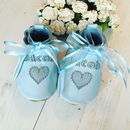 blue christening shoes
