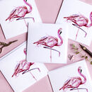 Inky Flamingo Blank Greeting Card