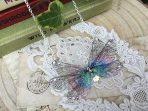 Purple Rainbow Faerie Wing Necklace