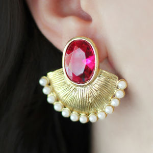 Moon Pearl Statement Earrings - statement jewellery