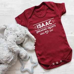 Personalised Valentines 'Breaking Hearts' Baby Bodysuit - new in baby & child