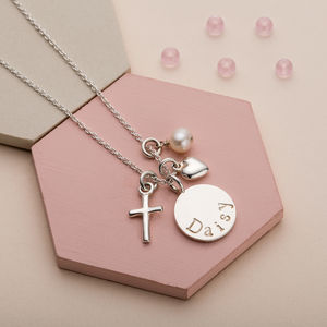 Silver Christening Necklace - naming day celebration gifts
