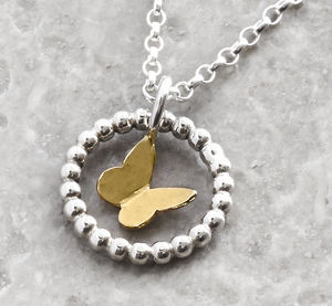 Solid Gold In A Silver Bobble Ring Necklace - gold necklaces