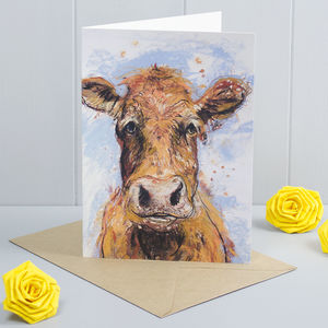 'Daisy' Cow Art Greeting Card - birthday cards