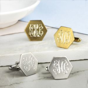 Silver Gilt Hexagon Cufflinks With Monogram - gifts for him sale