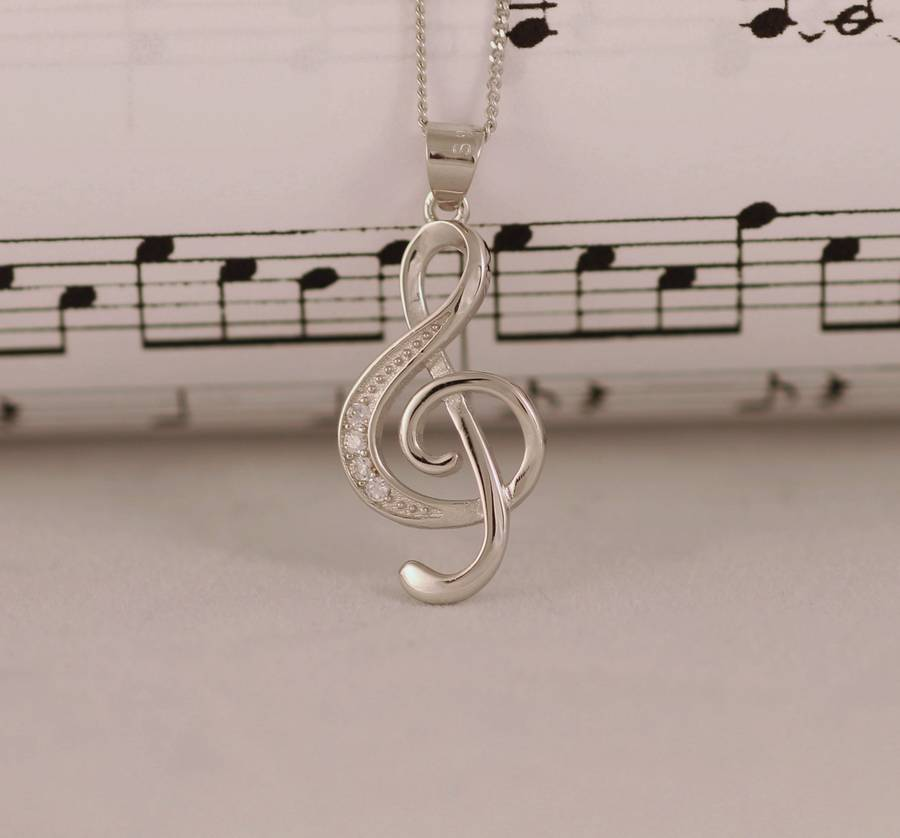 Sterling silver treble clef musical note necklace by diamond affair sterling silver treble clef musical note necklace aloadofball Choice Image