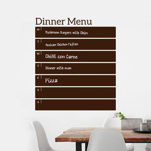 Write And Erase Weekly Menu Wall Sticker