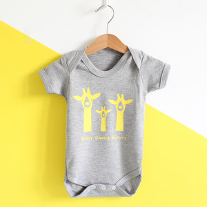 Giraffe Family, Personalised Baby Grow - personalised