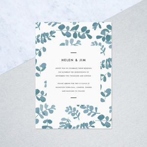 Hand Painted Eucalyptus Wedding Invites - wedding stationery
