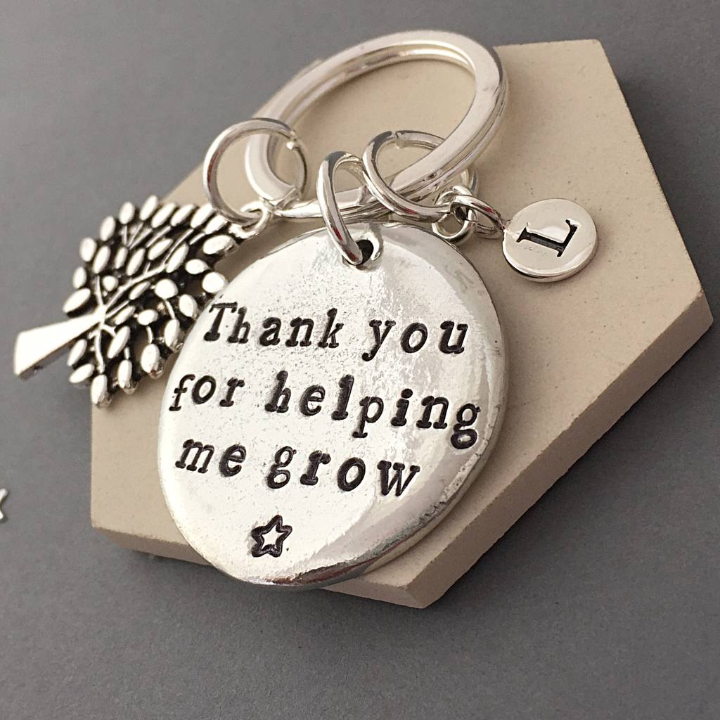 Personalised Teacher keyring Thank you for helping me grow  Teacher gifts