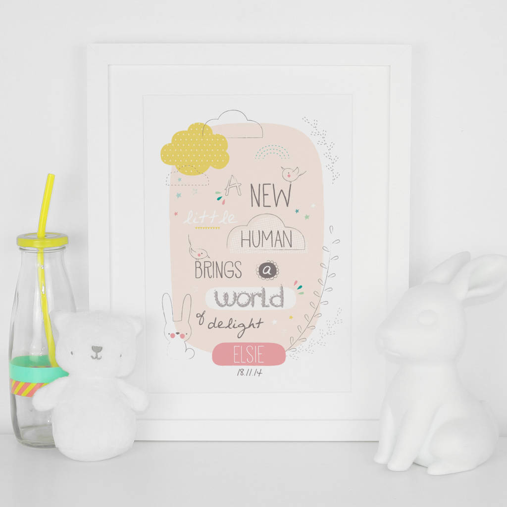 Personalised New Little Human Birth Date Print