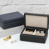 Personalised Intials Leather Cufflink Box - men's jewellery