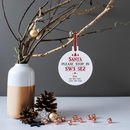 Personalised 'Santa Please Stop Here' Bauble