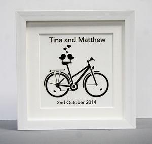 Personalised Paper Cut Birds On Bike Picture