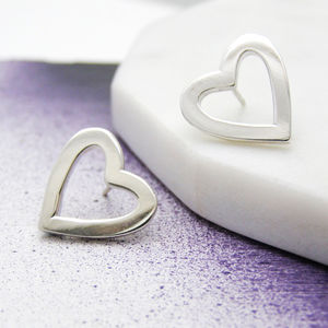 Personalised Silver Heart Earrings