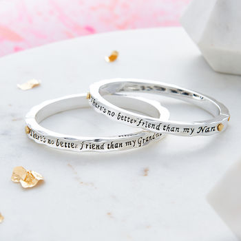 Silver Plated Grandmother Message Bangles