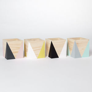 Geometric Wooden Pen Pot - desk accessories