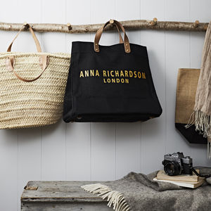 Personalised Name And Location Jute Shopper