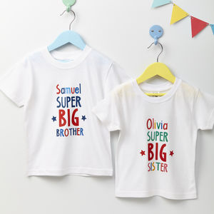 Child's Personalised Big Brother Or Sister T Shirt