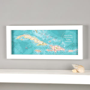 Personalised Cuba Hand Drawn Map Location Print - posters & prints