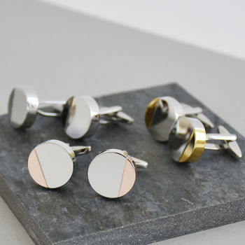 Mixed Metal Personalised Solid Disc Circle Cufflinks