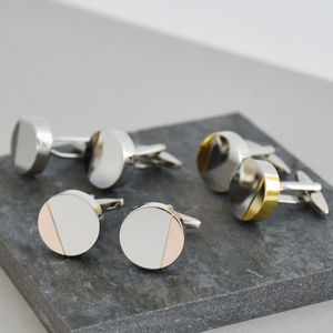 Half Moon Mixed Metal Personalised Solid Disc Cufflinks - women's accessories
