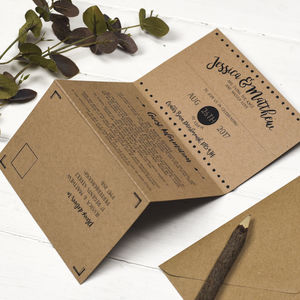 Brush Lettered Folded Wedding Invitation
