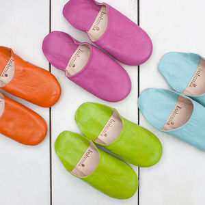 Moroccan Leather Basic Slippers - lingerie & nightwear