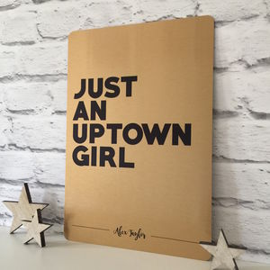 Personalised 'Up Town Girl' Metal Print