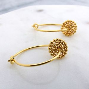 Dotty Disc Gold Hoop Earrings - wedding fashion