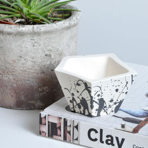Geometric Splatter Porcelain Planter - living room