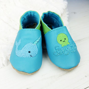 Personalised Narwhal And Squid Baby Shoes