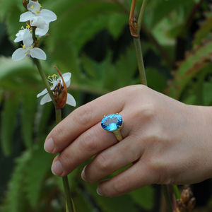 Big Blue Topaz Statement Ring - rings