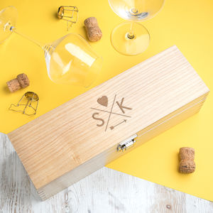 Personalised Wooden Wine Box For Couples - storage & organisers