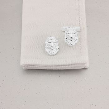 Lion Head Cufflinks In Sterling Silver