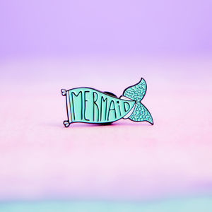30mm Mermaid Tail Flag/Banner Enamel Pin Brooch