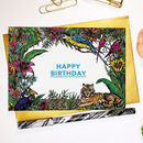 Tropical Tiger 'Happy Birthday' Greeting Card