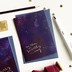 Gold Foil Star Galaxy Christmas Card Brightly Shining - cards