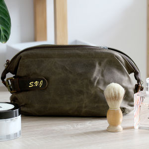 Personalised Men's Waxed Canvas Leather Wash Bag - bags