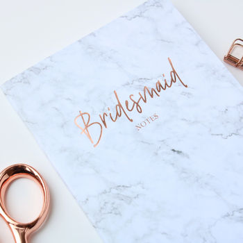 Rose Gold Bridesmaid Wedding Marble Notebook Planner