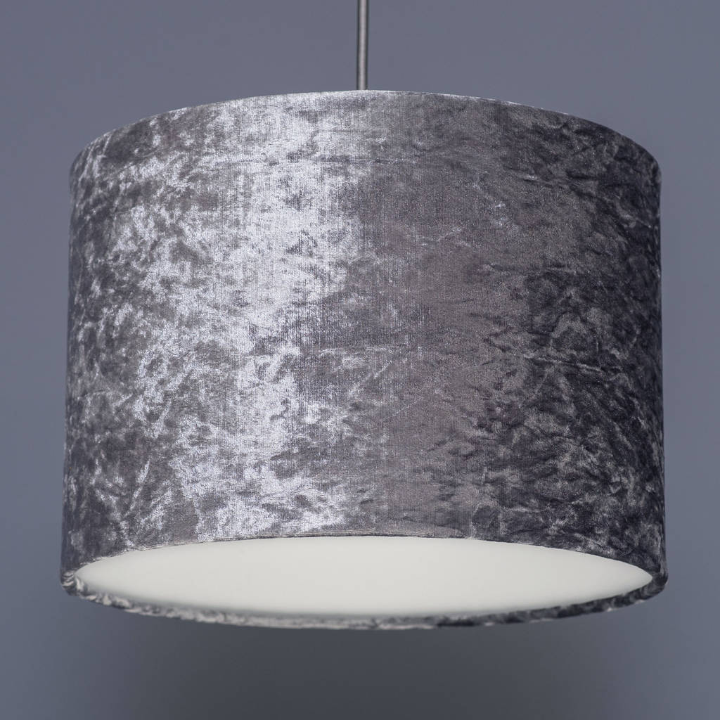 Steel grey crushed velvet effect lampshade by quirk steel grey crushed velvet effect lampshade aloadofball Images