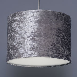 Steel Grey Crushed Velvet Effect Lampshade - lampshades