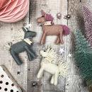 pink grey and white felt unicorns