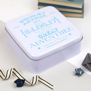 Personalised Christening Keepsakes Tin Box - christening gifts