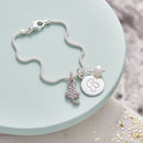 Cat Lover Personalised Silver Cat Charm Bracelet - Fresh Water Pearl