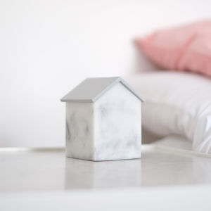 Marble Effect House Trinket Jewellery Box, Dove Grey - bedroom